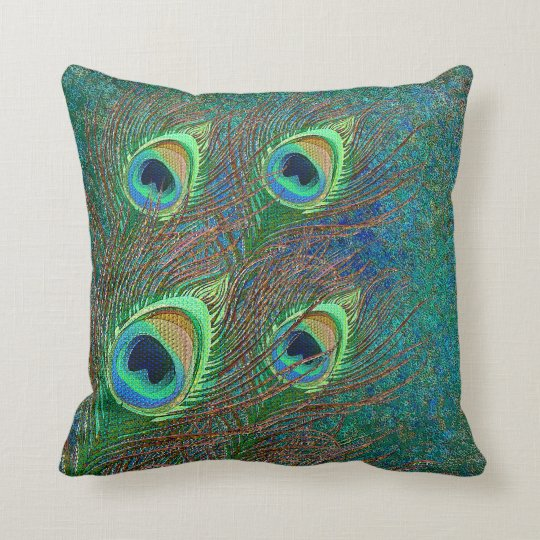 Peacock feathers colourful pattern pillows