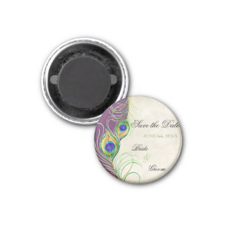 Peacock Feathers Damask Save the Date 3 Cm Round Magnet