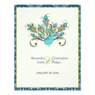 Peacock Feathers Damask Wedding 11 Cm X 14 Cm Invitation Card