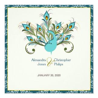 Peacock Feathers Damask Wedding 13 Cm X 13 Cm Square Invitation Card