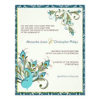 Peacock Feathers Damask Wedding 2 4.25x5.5 Paper Invitation Card