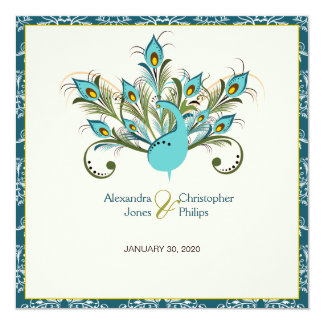 Peacock Feathers Damask Wedding Card