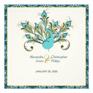 Peacock Feathers Damask Wedding Custom Invites