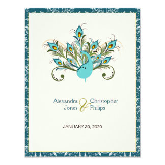 Peacock Feathers Damask Wedding 11 Cm X 14 Cm Invitation Card