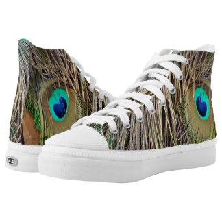Peacock Feathers Dashing Colors High Tops