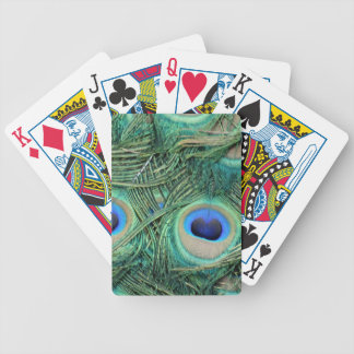 Peacock Feathers Deep Green Large Eyes Bicycle Playing Cards