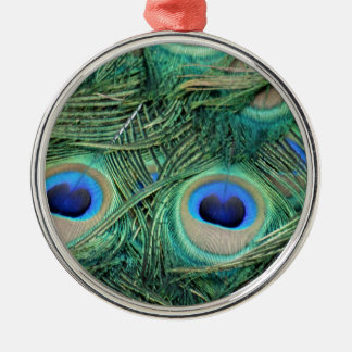 Peacock Feathers Deep Green Large Eyes Christmas Ornament