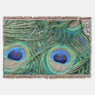 Peacock Feathers Deep Green Large Eyes Throw Blanket