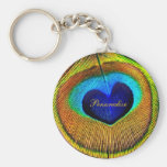 Peacock Feathers Eye of Love With Name Basic Round Button Key Ring