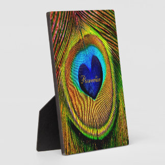 Peacock Feathers Eye of Love With Name Plaque