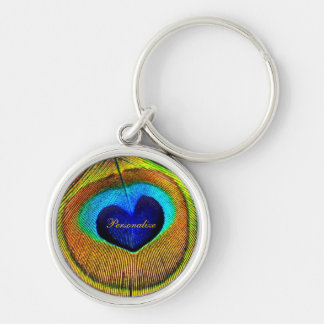 Peacock Feathers Eye of Love With Name Silver-Colored Round Key Ring