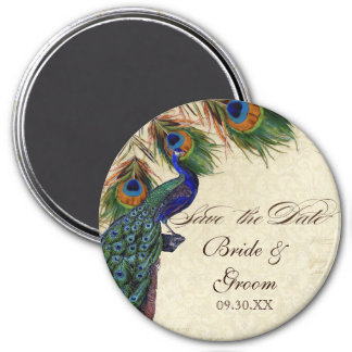Peacock & Feathers Formal Save the Date Black Tan 7.5 Cm Round Magnet