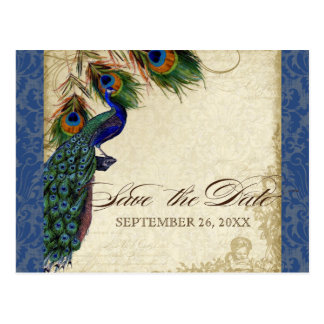 Peacock & Feathers Formal Save the Date Navy Blue Postcard