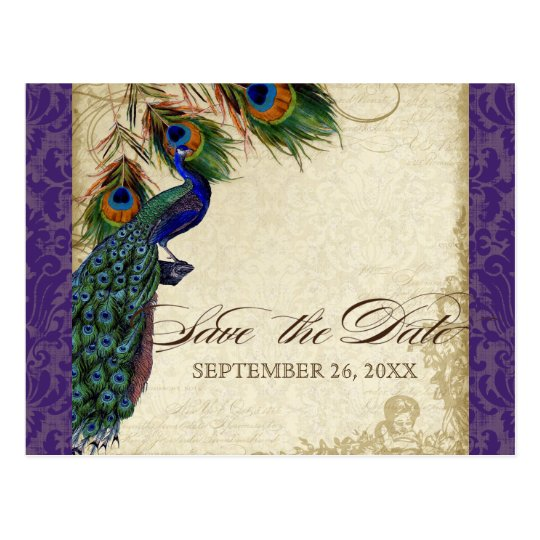 Peacock & Feathers Formal Save the Date Purple