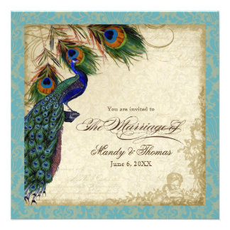 Peacock Feathers Formal Wedding Invite Aqua Blue
