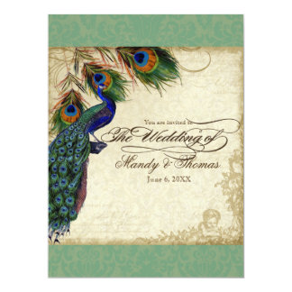 Peacock & Feathers Formal Wedding Invite Black