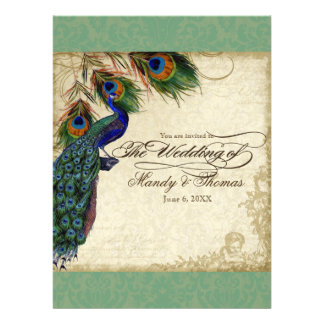 Peacock Feathers Formal Wedding Invite Black