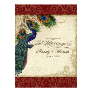 Peacock Feathers Formal Wedding Invite Red