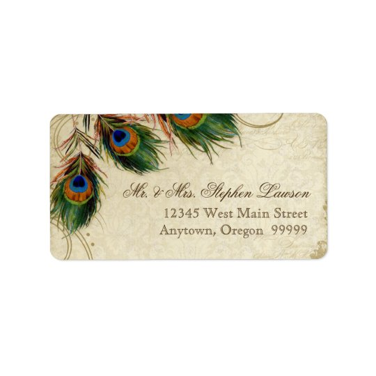 Peacock & Feathers Formal Wedding Matching Address Label