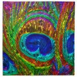 Peacock Feathers Glass Art 1 Napkins