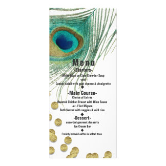 Peacock Feathers & Gold Boho Glam Party Menu Card