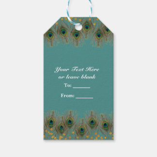 Peacock Feathers & Gold Dots ANY COLOR Party Gift Gift Tags