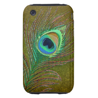 Peacock feathers green iPhone3 phones iPhone 3 Tough Cases