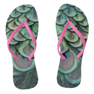 Peacock Feathers grey and green Flip Flops