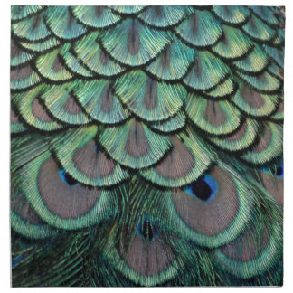 Peacock Feathers grey and green Napkin