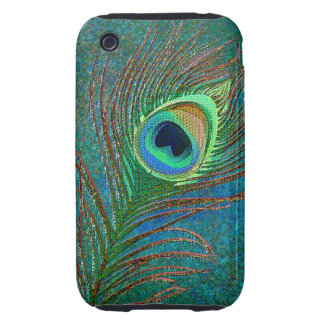 Peacock feathers grungy iPhone3 phones iPhone 3 Tough Cases