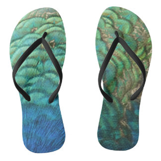 Peacock Feathers I Colorful Abstract Nature Design Flip Flops