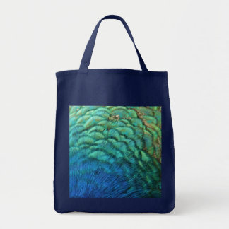 Peacock Feathers I Colorful Abstract Nature Design Grocery Tote Bag
