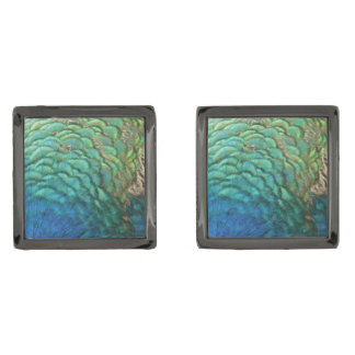 Peacock Feathers I Colorful Abstract Nature Design Gunmetal Finish Cufflinks