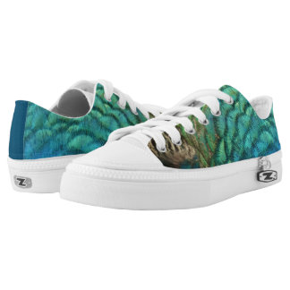 Peacock Feathers I Colorful Abstract Nature Design Low Tops