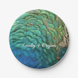 Peacock Feathers I Colorful Abstract Nature Design Paper Plate