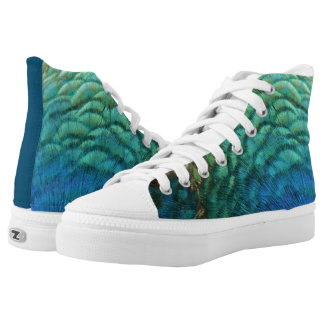 Peacock Feathers I Colorful Abstract Nature Design Printed Shoes