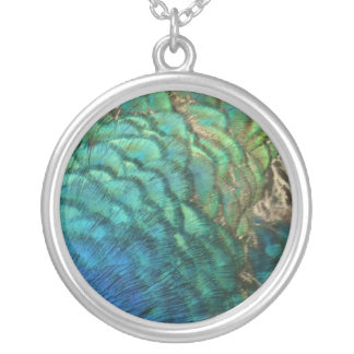 Peacock Feathers I Colorful Abstract Nature Design Silver Plated Necklace