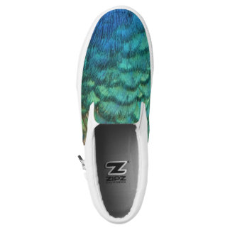 Peacock Feathers I Colorful Abstract Nature Design Slip On Shoes