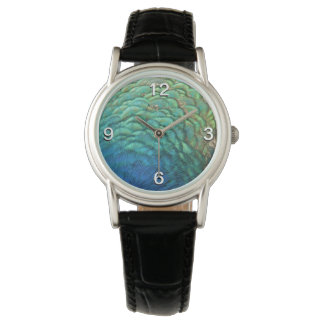 Peacock Feathers I Colorful Abstract Nature Design Watch