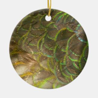 Peacock Feathers III (Female) Subtle Nature Design Round Ceramic Decoration