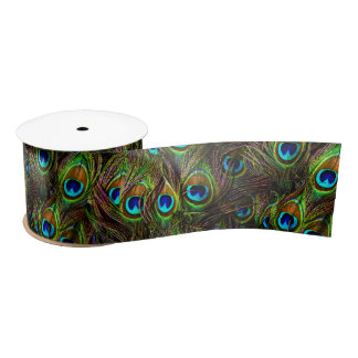 Peacock Feathers Invasion Satin Ribbon