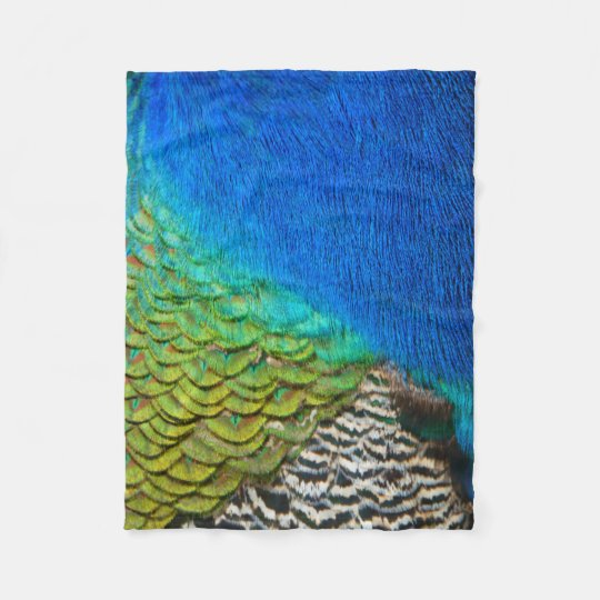 Peacock Feathers IV Colourful Nature Design Fleece Blanket