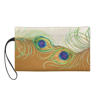 Peacock Feathers Lace Matching Wedding Bride Wrist Wristlet Purse