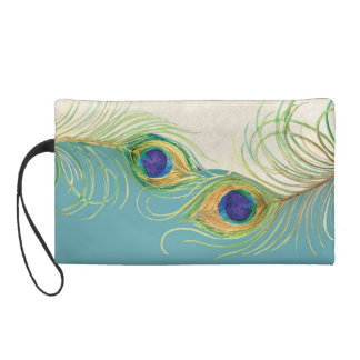 Peacock Feathers Lace Matching Wedding Bride Wrist Wristlet Purses