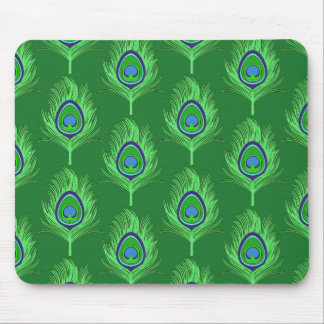 Peacock Feathers, Lime Green on Emerald Green Mouse Mat