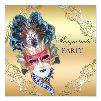 Peacock Feathers Mask Gold Masquerade Party 13 Cm X 13 Cm Square Invitation Card