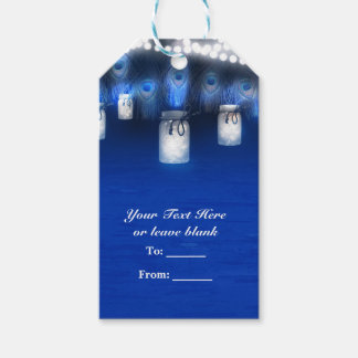 Peacock Feathers, Mason Jar & String Lights Party Gift Tags