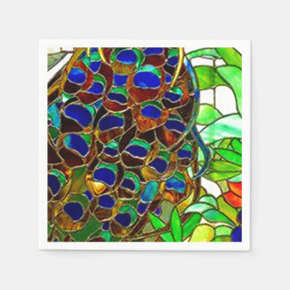 Peacock Feathers Mosaic Stained Glass Window Paper Napkins