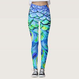 Peacock Feathers Multi Colors Leggings