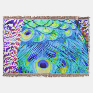 Peacock Feathers Multi Colors Throw Blanket